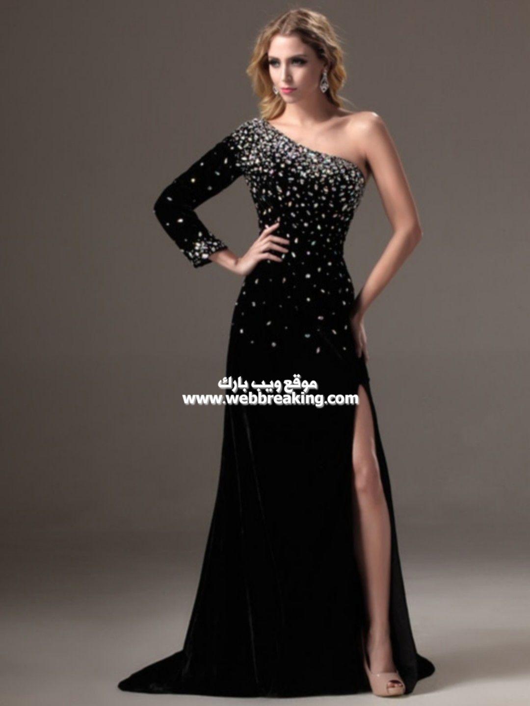 صور فساتين سهرة 2021 جديدة أجمل صور فساتين سهرة لون أسود 2021 فساتين للسهرة لون أسود أنيقة 202 Boho Evening Dresses One Shoulder Prom Dress Evening Dresses