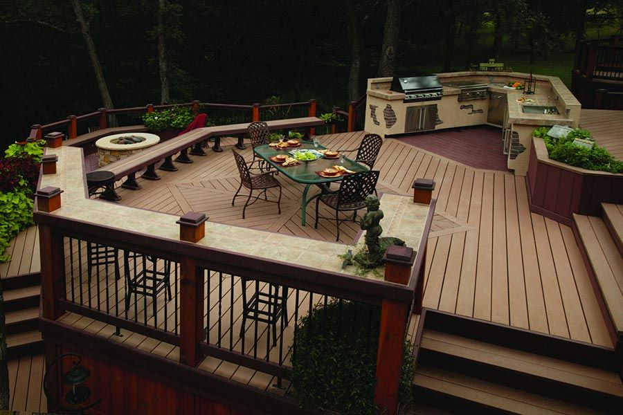 Deck rail with built in bar top great idea home for What is the best wood for decking