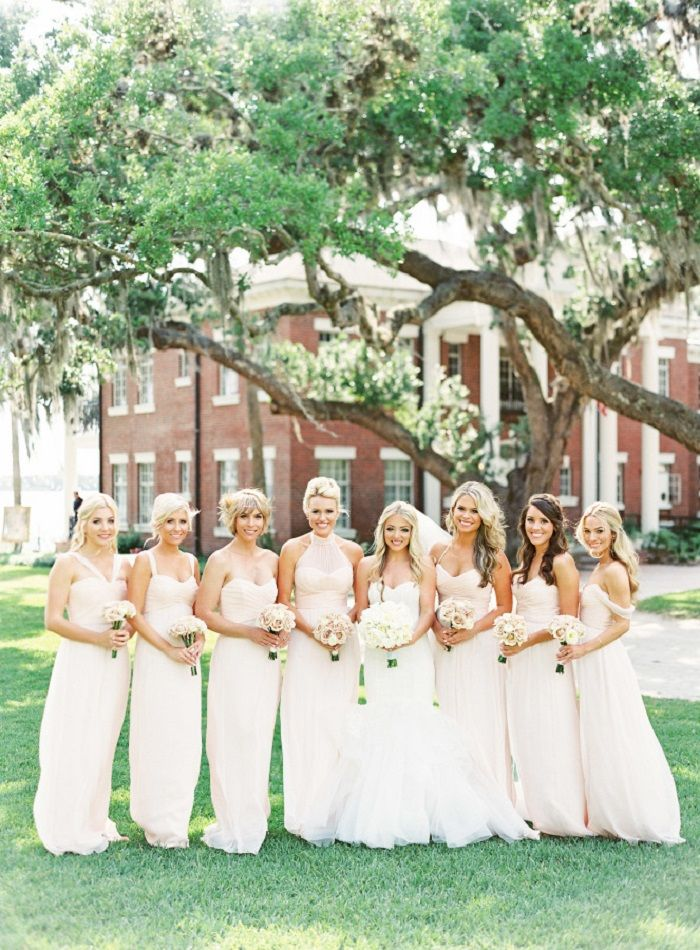 Blush bridesmaid dresses | fabmood.com #weddinginspiration #blush #blushbridesmaiddresses