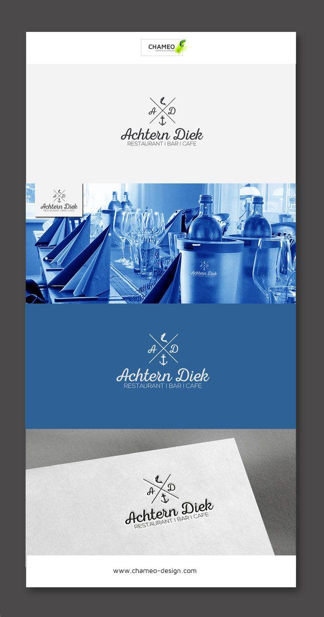Branding design i logo i ci colors i maritime restaurant food colors blue white business cards brand identity merchandising