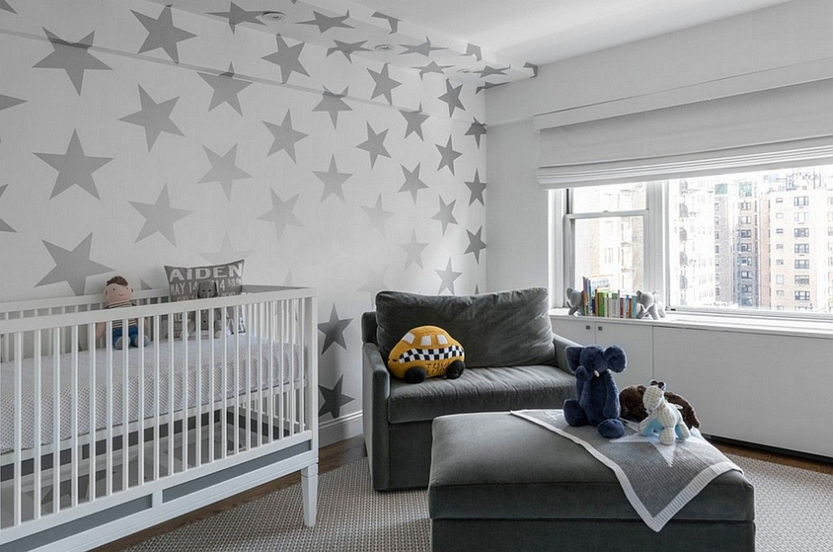 Baby Nursery Bright Room With Grey Wallpaper Stars And Velvet Armchair Also Ottoman Textured Rug Large Gl Window Overlooking The