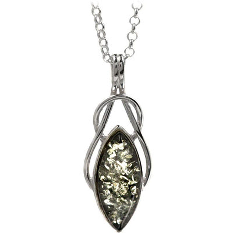 Amber Sterling Silver Celtic Pendant Rolo Chain 46 cm bieC6CiP