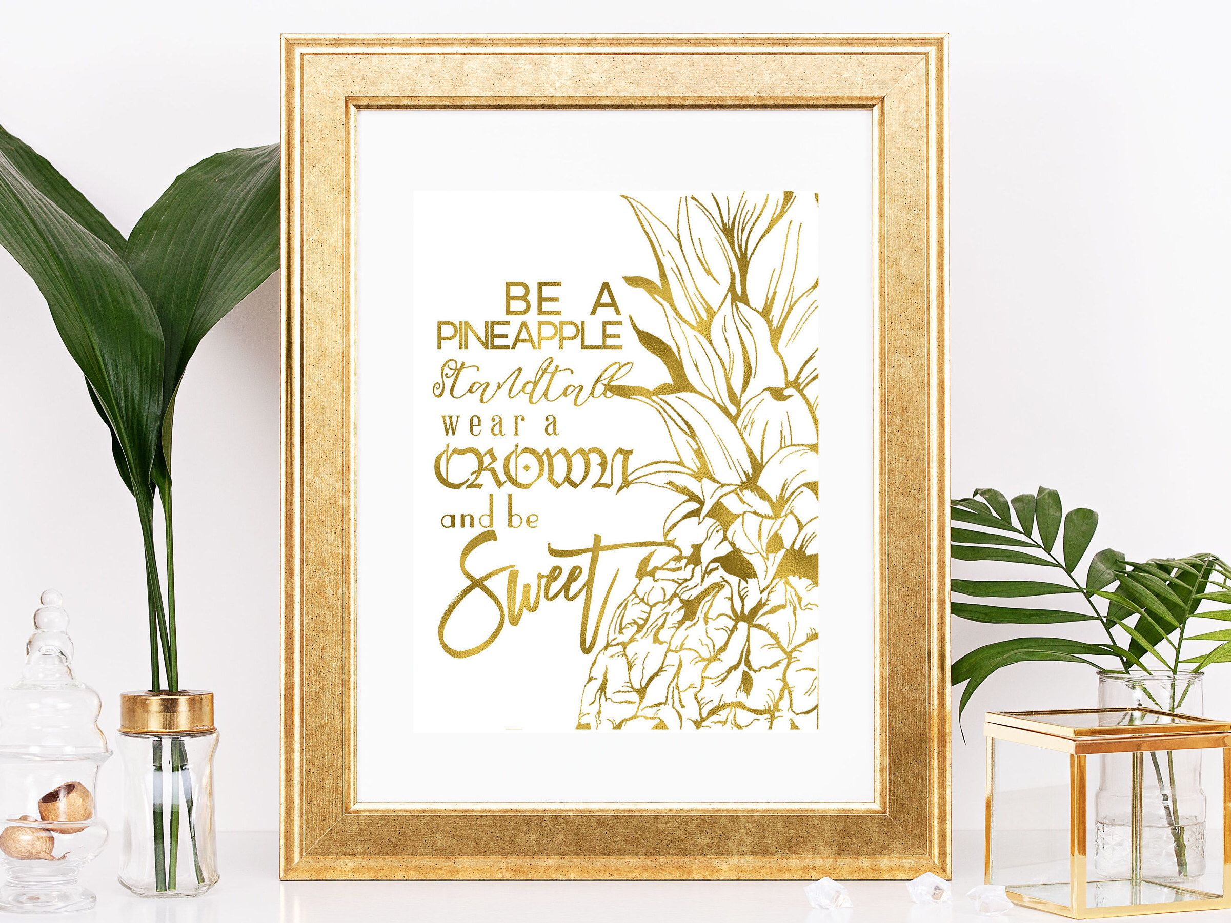 Pineapple Gold Foil Print Be A Tropical Hawaii