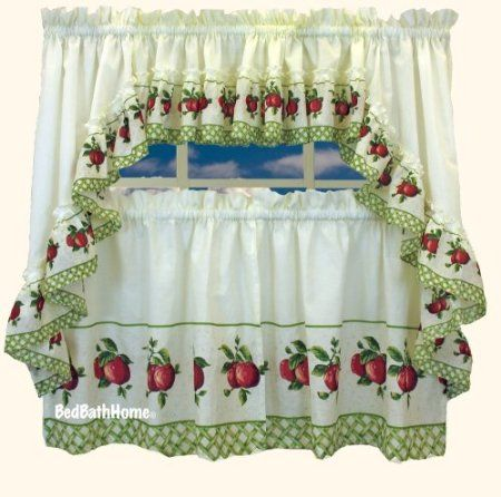 "Amazon.com: Apple Trellis Tier Curtain, 60""x24"" Tier: Furniture & Decor"