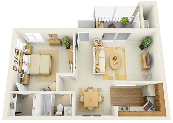 20 One Bedroom Apartment Plans for Singles and Couples images