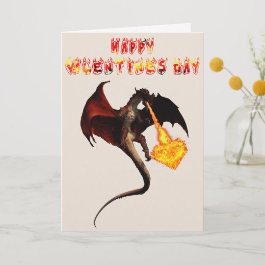 Happy Valentine's day Red Dragon Fire Heart Card #dragonvalentinesday  #dragoncard  #dragonfirebreatihing