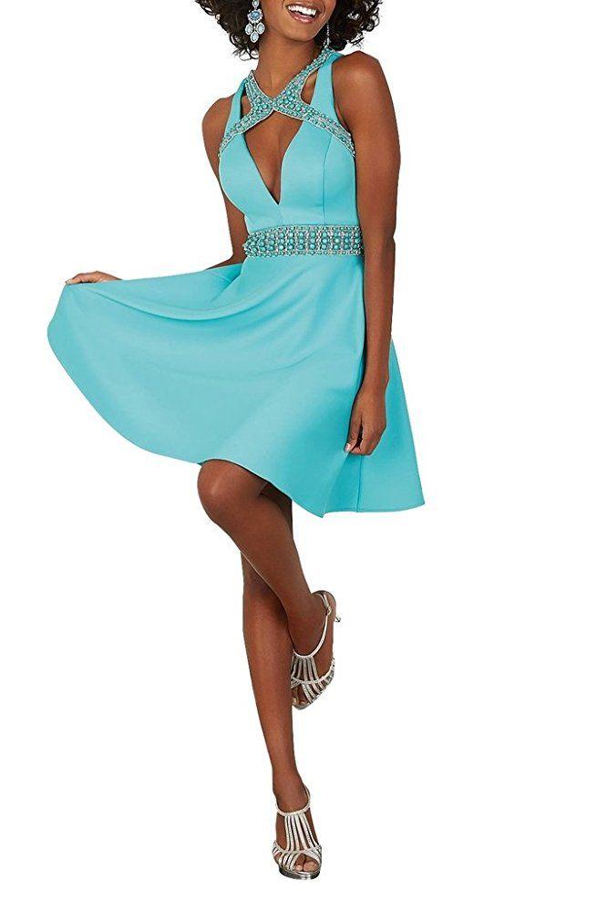 La_Marie Braut Attraktive Satin Cocktailkleider Abendkleider Partykleider  Steine guertel - silvester outfit damen silvester outfit frauen
