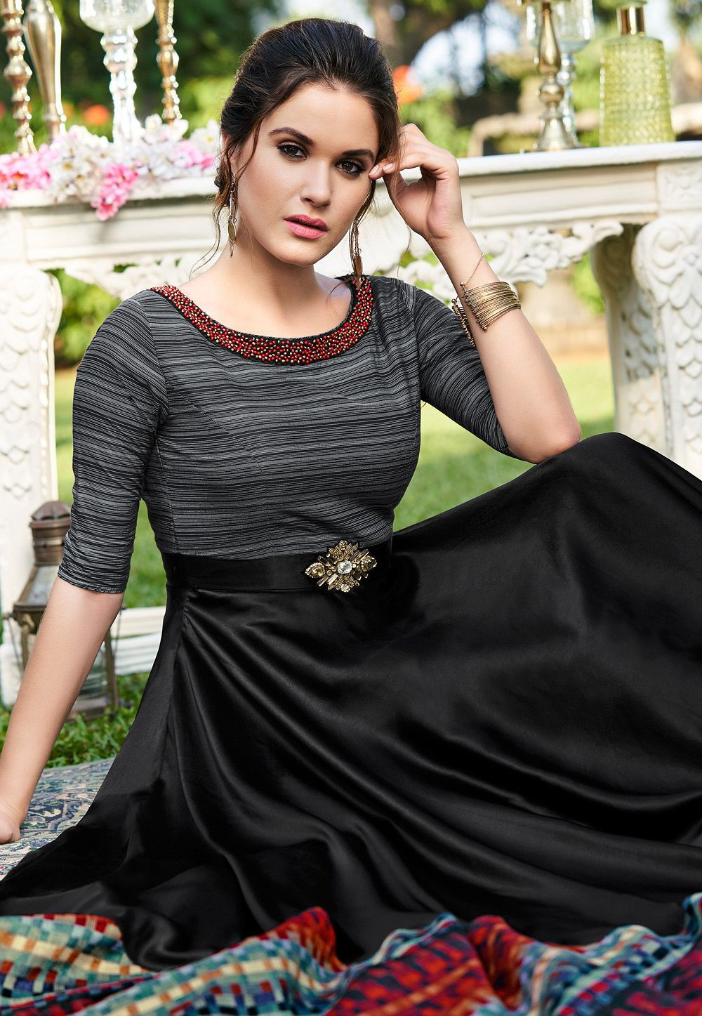 Black Cotton Satin Digital Printed Floor Length Gown 9013 Printed Gowns Designer Gowns Simple Gowns