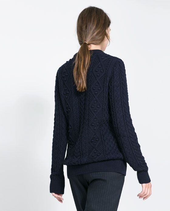 ZARA - CABLE-KNIT SWEATER - NAVY BLUE $59.90
