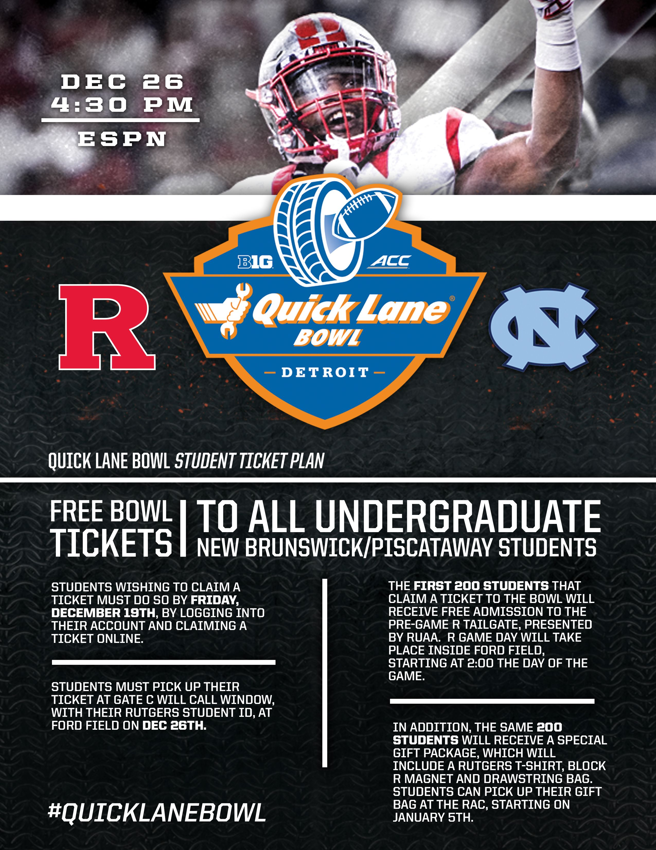 Quick Lane Bowl Student Ticket Info With Images Student