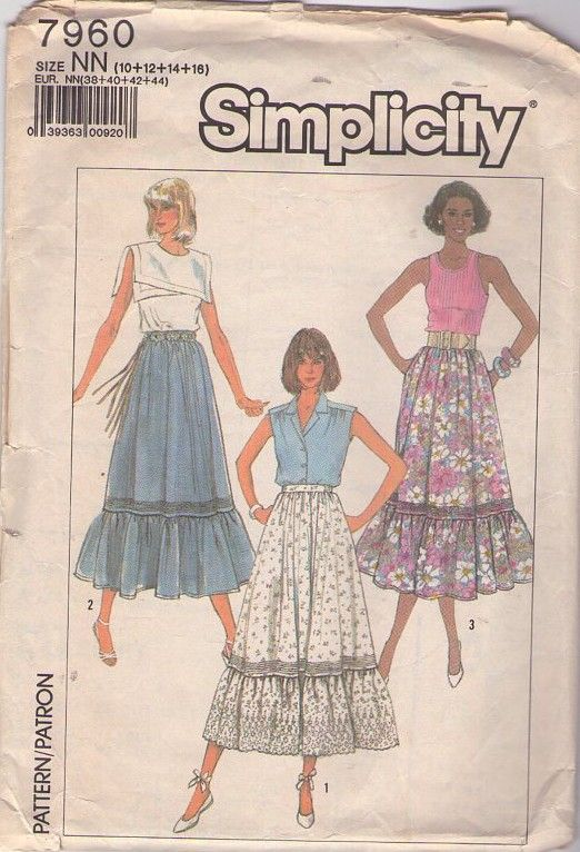 MOMSPatterns Vintage Sewing Patterns - Simplicity 7960 Vintage 80's Sewing Pattern BEAUTIFUL Gypsy Tiered Hem Peasant Skirt, Eyelet Lace, Garden Party