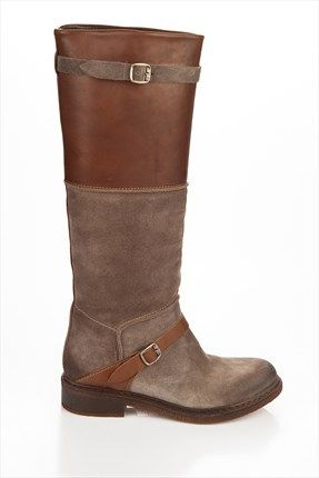 Hakiki Deri Toprak Suet Ceviz Bayan Cizme 13kik3225 Boots Shoes Riding Boots