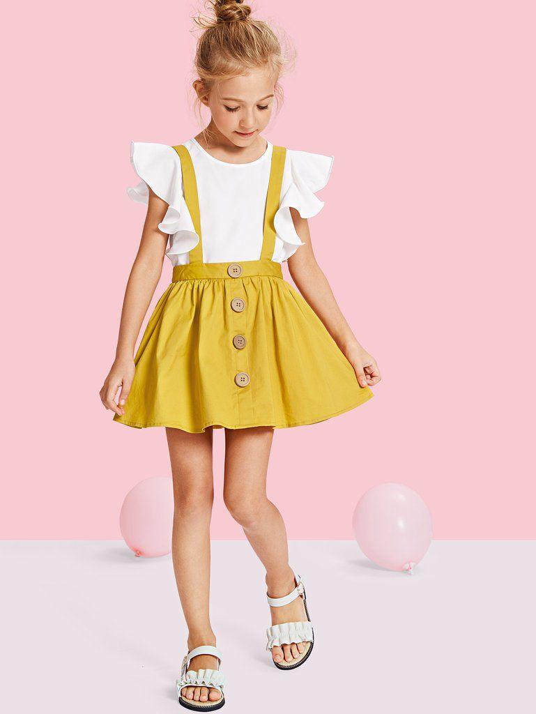 e749443f1 Girls Button Up Pinafore Skirt. Girls Button Up Pinafore Skirt Girls  Fashion Clothes, Kids ...