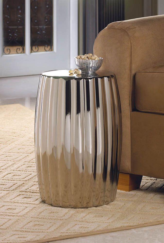 Smart Living Contemporary Living Room Ceramic Silver Decorative Stool Ceramic Stool Accent Decor Side Table Decorative stools for living room