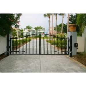 Mighty Mule St Augustine 14 Ft W X 5 Ft H 2 In Powder Coated Steel Dual Driveway Fence Gate G2514 Kit The Home Depot Driveway Gate Aluminum Driveway Gates Driveway Fence