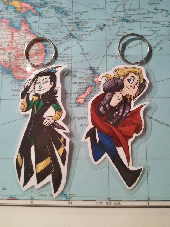 Thor OR Loki Avengers Key Chain or Bookmark by IdentityProductions, $5.00