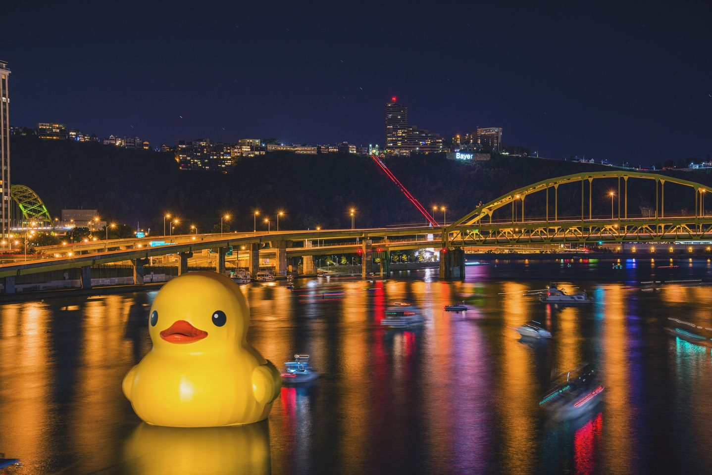 Giant Rubber Duck In Pittsburgh Giant Duck On The Allegheny River In Pittsburgh At Night Hdr Pittsburgh Visit Pittsburgh Pittsburgh Skyline
