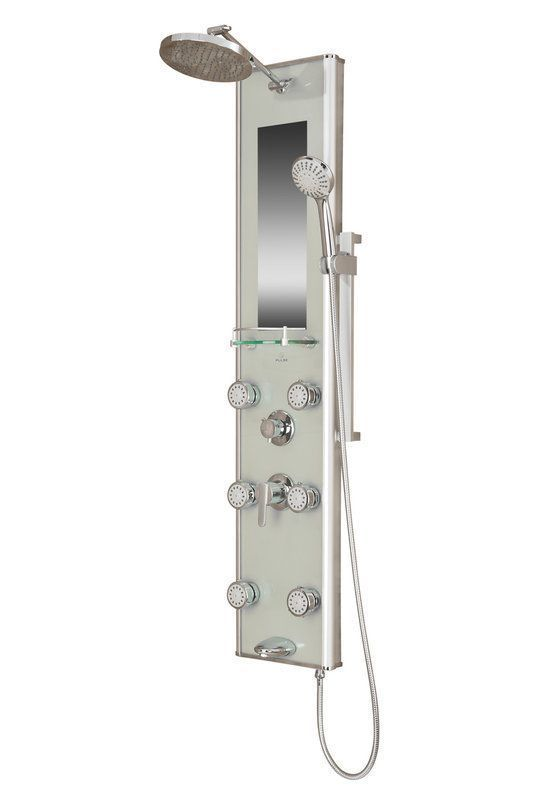 Pulse 1013 Gl Multi Function Shower Panel With Rain Head And 6 Body Spray Silver Faucet Showerpanel Single Handle