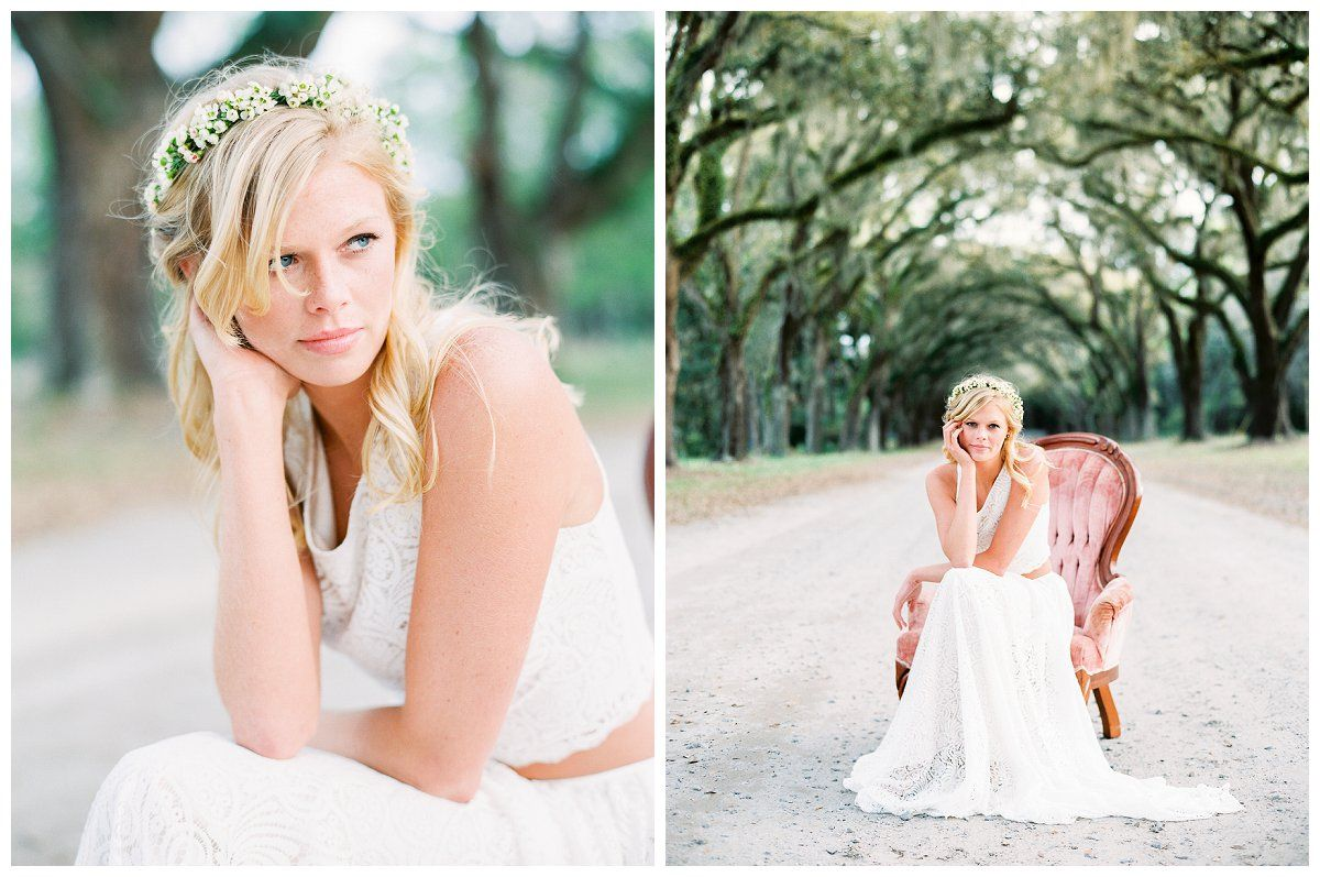 Sweet and romantic, blue and green inspired bridal shoot. The bride is wearing Martina Liana separates collection