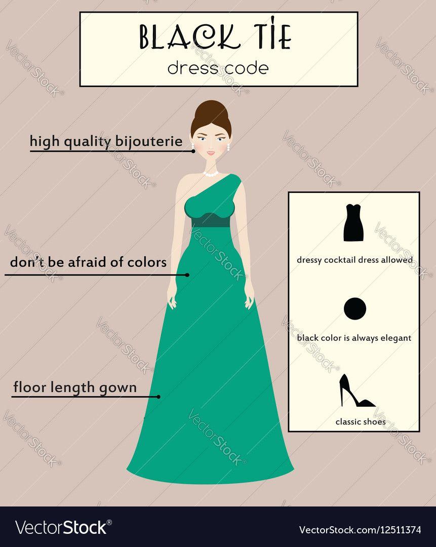 Woman Dress Code Infographic Black Tie Royalty Free Vector Dress Codes Black Tie Dress Code Black Tie [ 1080 x 861 Pixel ]