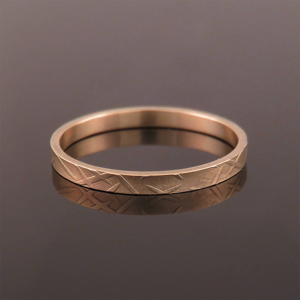 A Rose Gold Wedding Band With Light Texture For Men And Women This Flat: Gold And Silver Embossed Wedding Bands At Reisefeber.org