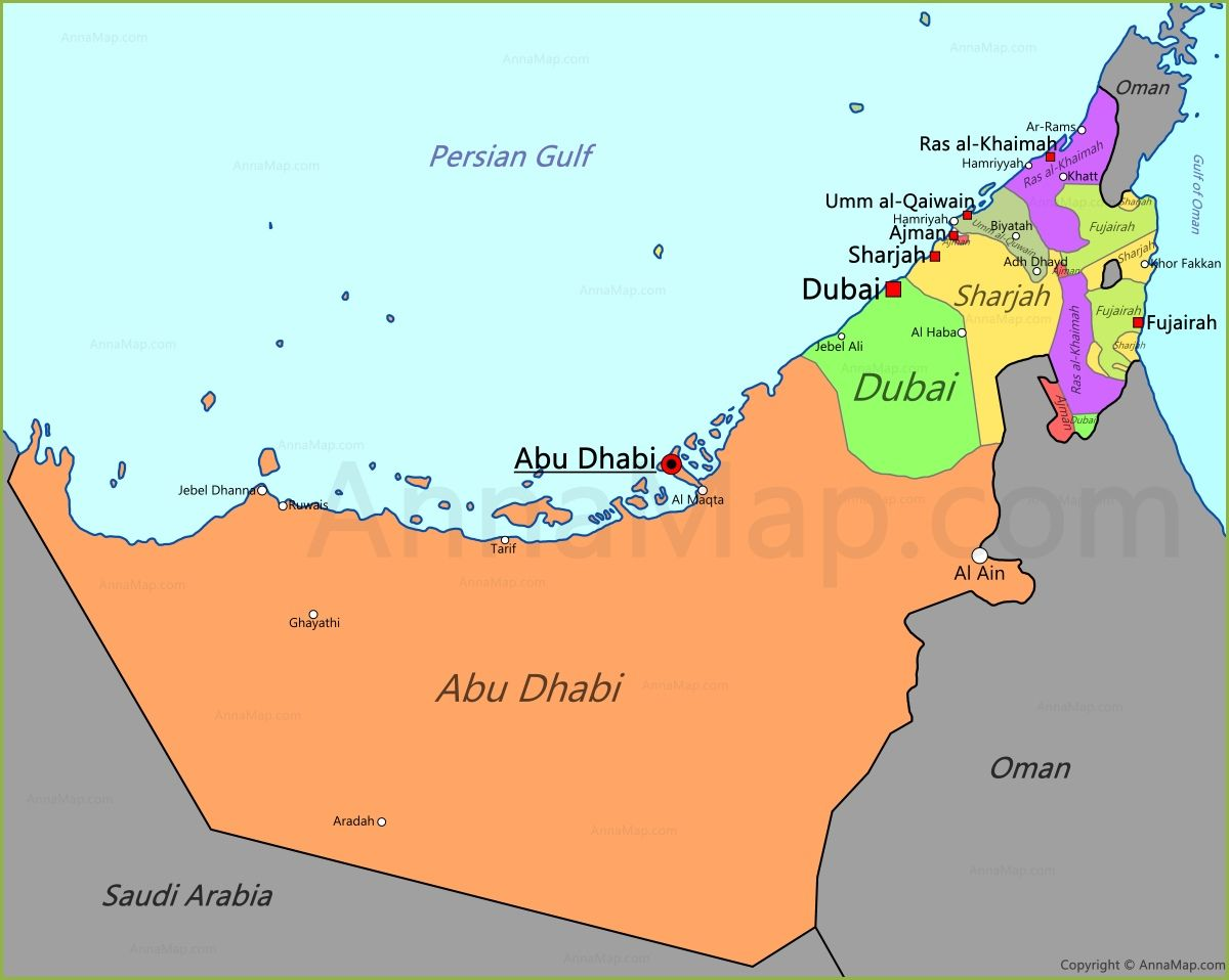 uae map map of united arab emirates annamap | EAU. EMIRATOS ÁRABES ...