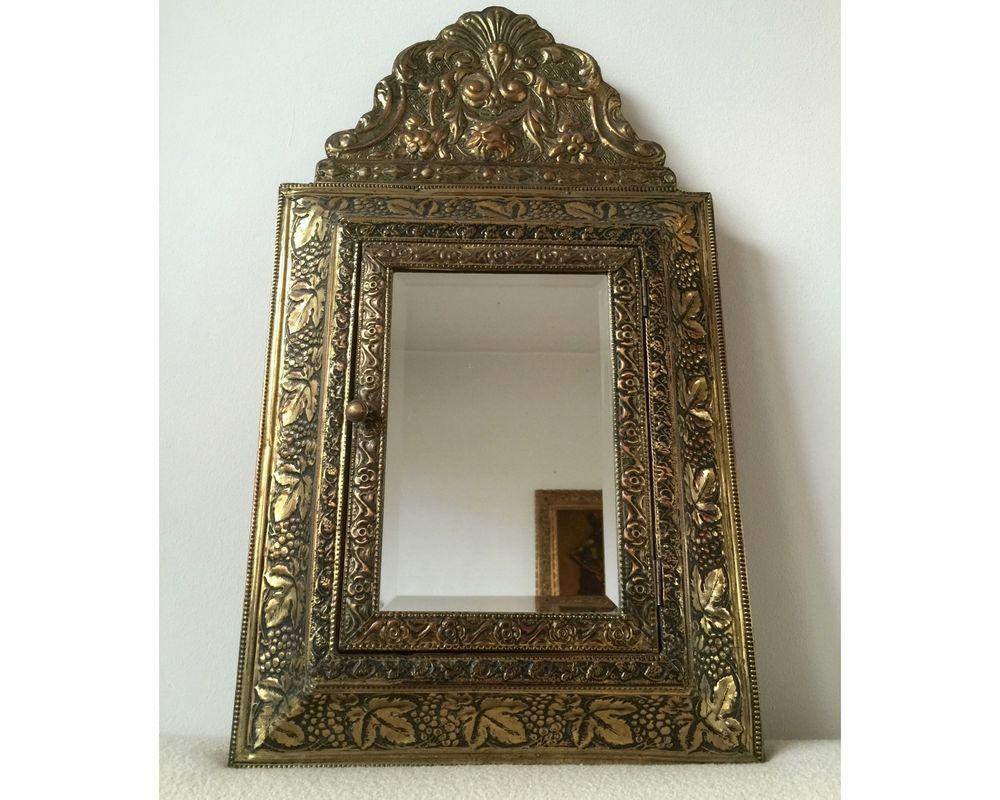 Antik Wandspiegel Spiegel Spiegelschrank Facettschliff 1900 Messing ...