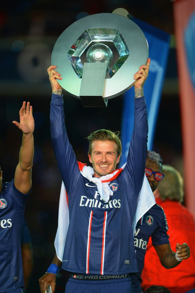 c43ce397dd14 David Beckham of PSG lifts the Ligue 1 trophy during the Ligue 1 match  between Paris Saint-Germain FC and Stade Brestois 29 at Parc des Princes on  May 18