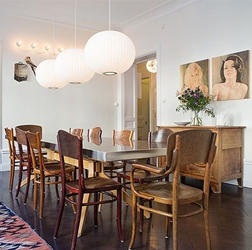 Dining Room With George Nelson Ball Pendant Lamps
