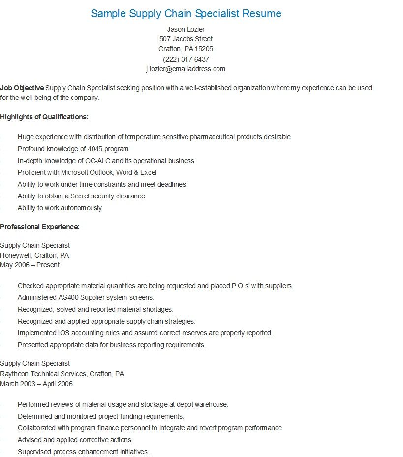 sample supply chain specialist resume