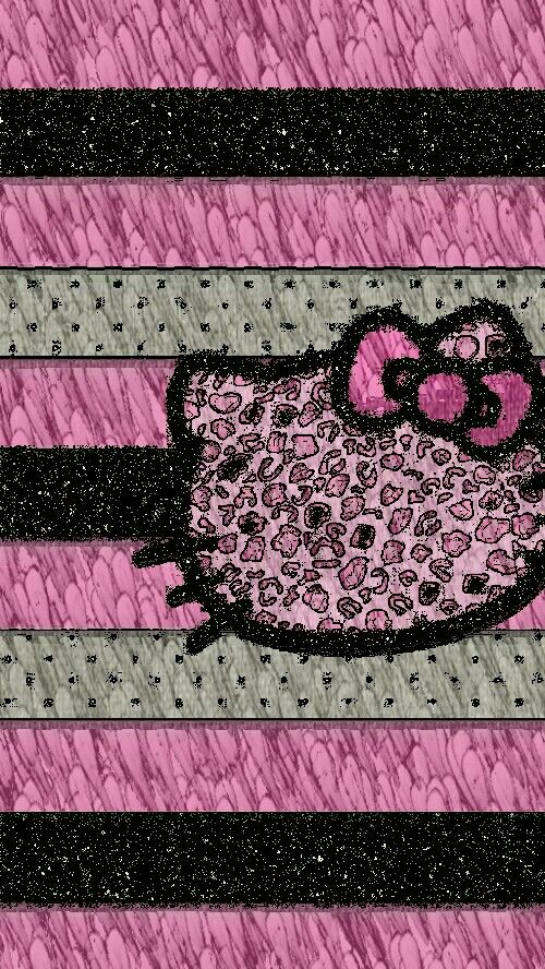 Cute Pink And Black Glittery Hello Kitty