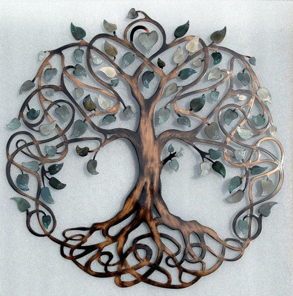 Shades of Grey Tree of Life Infinity Tree Metal Wall Art | Tree of ...