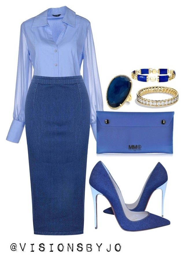 """""""Untitled #1169"""" by visionsbyjo on Polyvore featuring GUESS by Marciano, Glamorous, Christian Louboutin, MM6 Maison Margiela and David Yurman"""