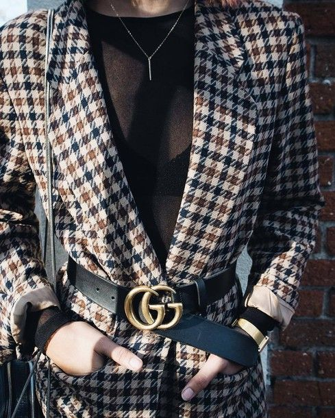 4cea709f5d3 Jacket  tumblr tartan plaid blazer waist belt belt logo belt gucci belt top  black top mesh top mesh