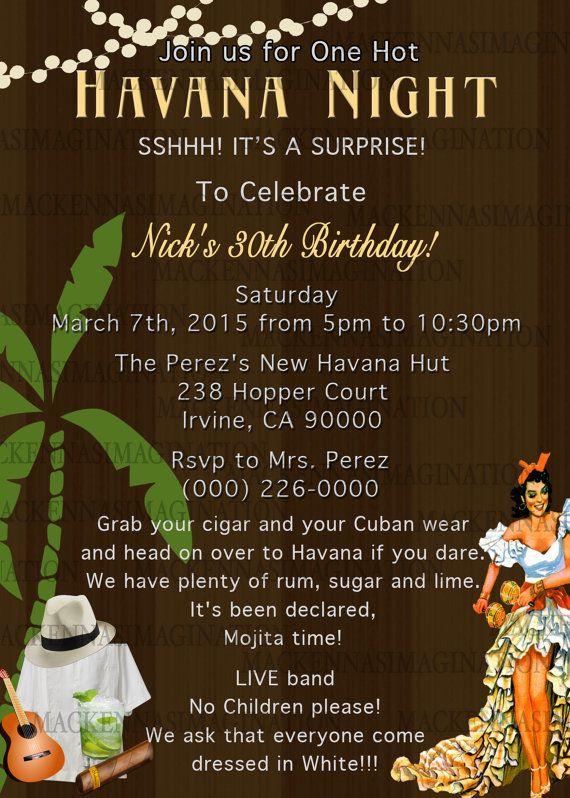 Havana Nights Birthday Invite DIGITAL by MacKennasImagination - invitation letter for us visa cuba