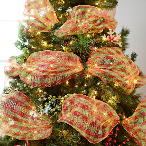 thick mesh ribbon on christmas tree at kirkland