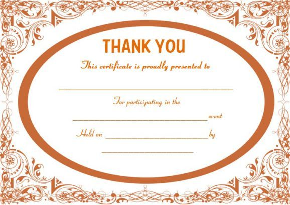 Thank you for participating certificate template Thank you - thank you certificate template
