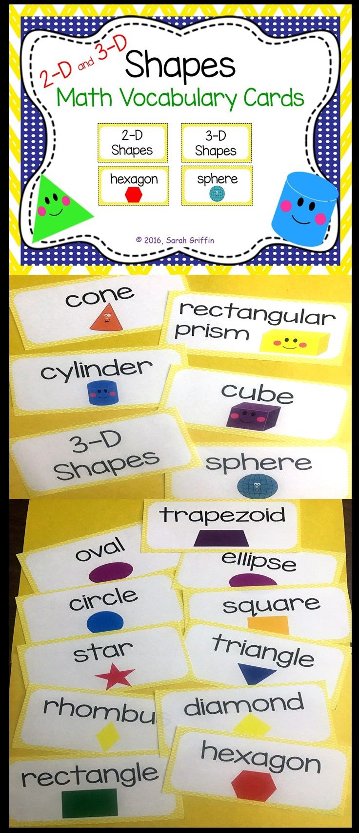2D and 3D Shapes Math Vocabulary Cards | Math wall, Math vocabulary ...