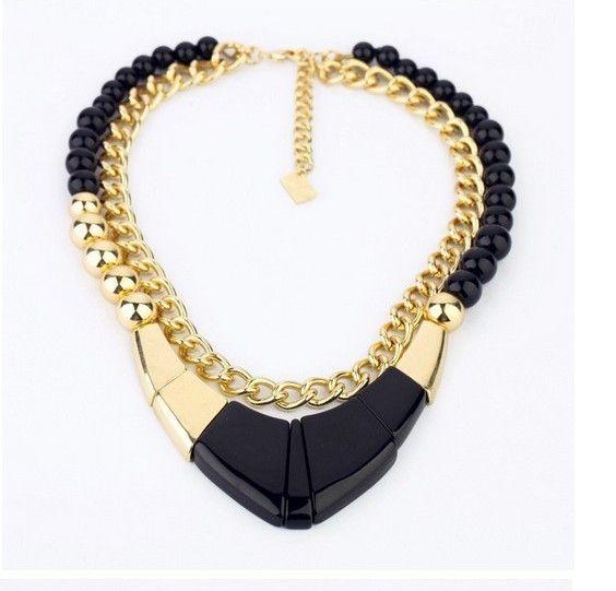 Brincos Punk Double Chain Geometry Statement Jewelry Black Exaggerate Vintage Choker Necklace Chunky Bib 2013 Women Jewelry