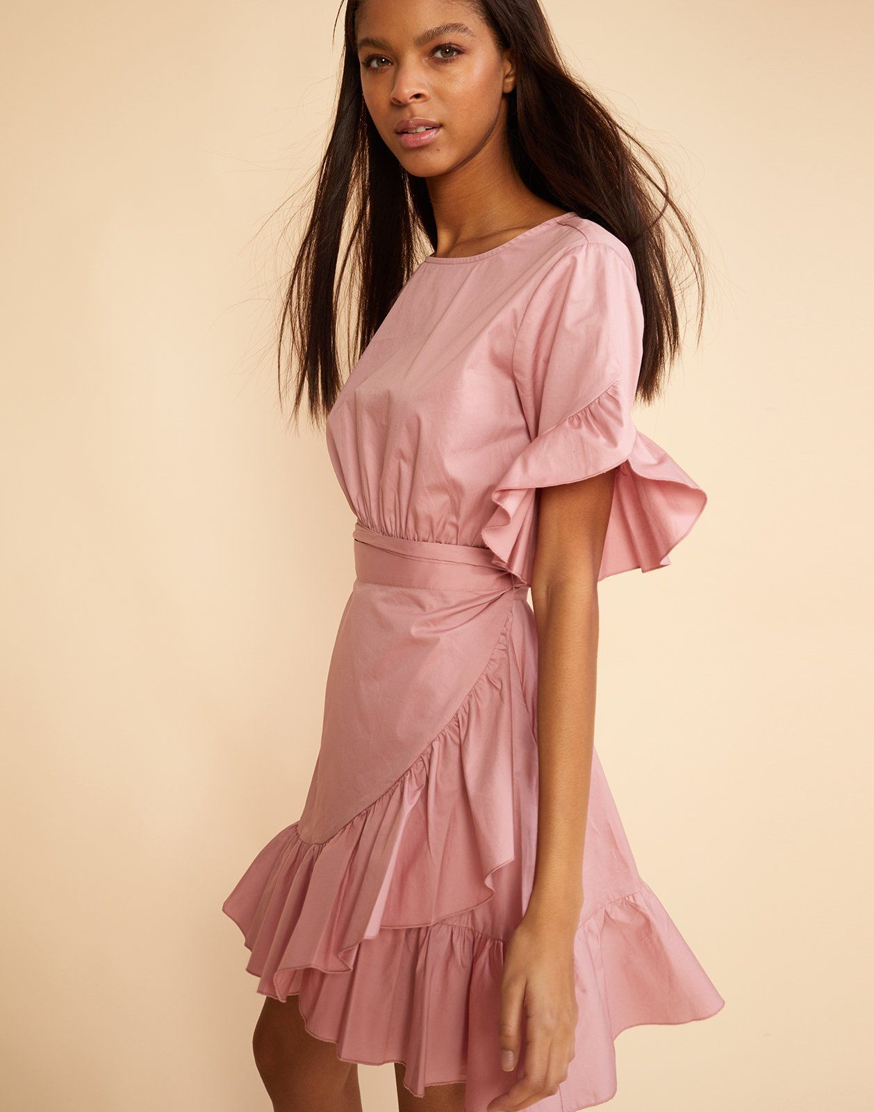 3/4 front view of the polished cotton ruffle wrap dress | Fashion ...