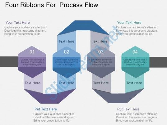 four ribbons for process flow flat powerpoint design Slide01