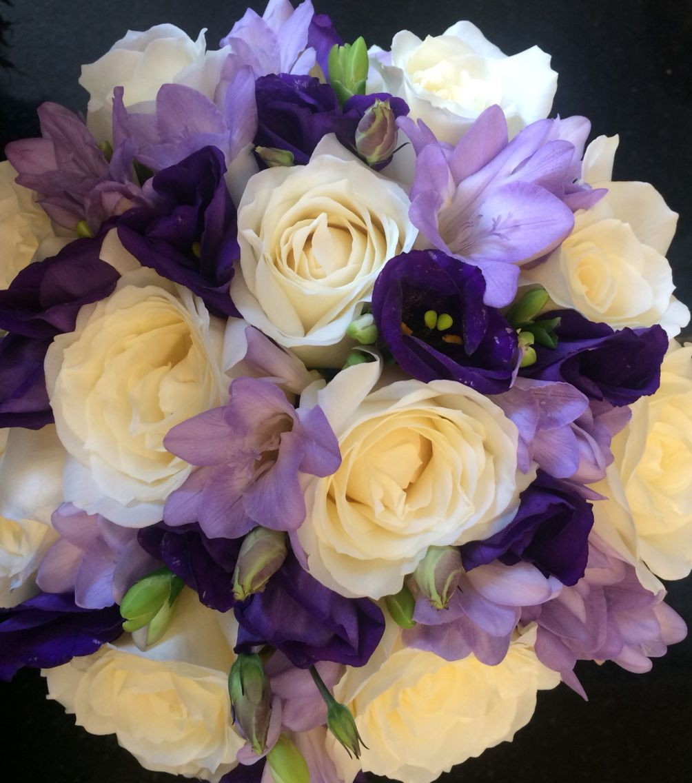 Hand tied wedding bouquet in purple lilac and ivory flowers small hand tied wedding bouquet in purple lilac and ivory izmirmasajfo