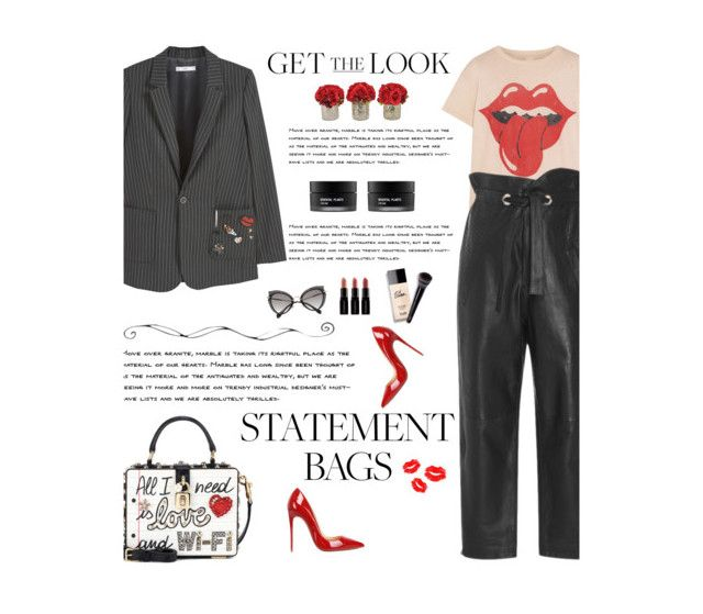 """""""Carry On: Statement Bags"""" by amimcqueen ❤ liked on Polyvore featuring MANGO, Miu Miu, Christian Louboutin, MadeWorn, Marissa Webb, Koh Gen Do, Dolce&Gabbana, Smashbox and The French Bee"""