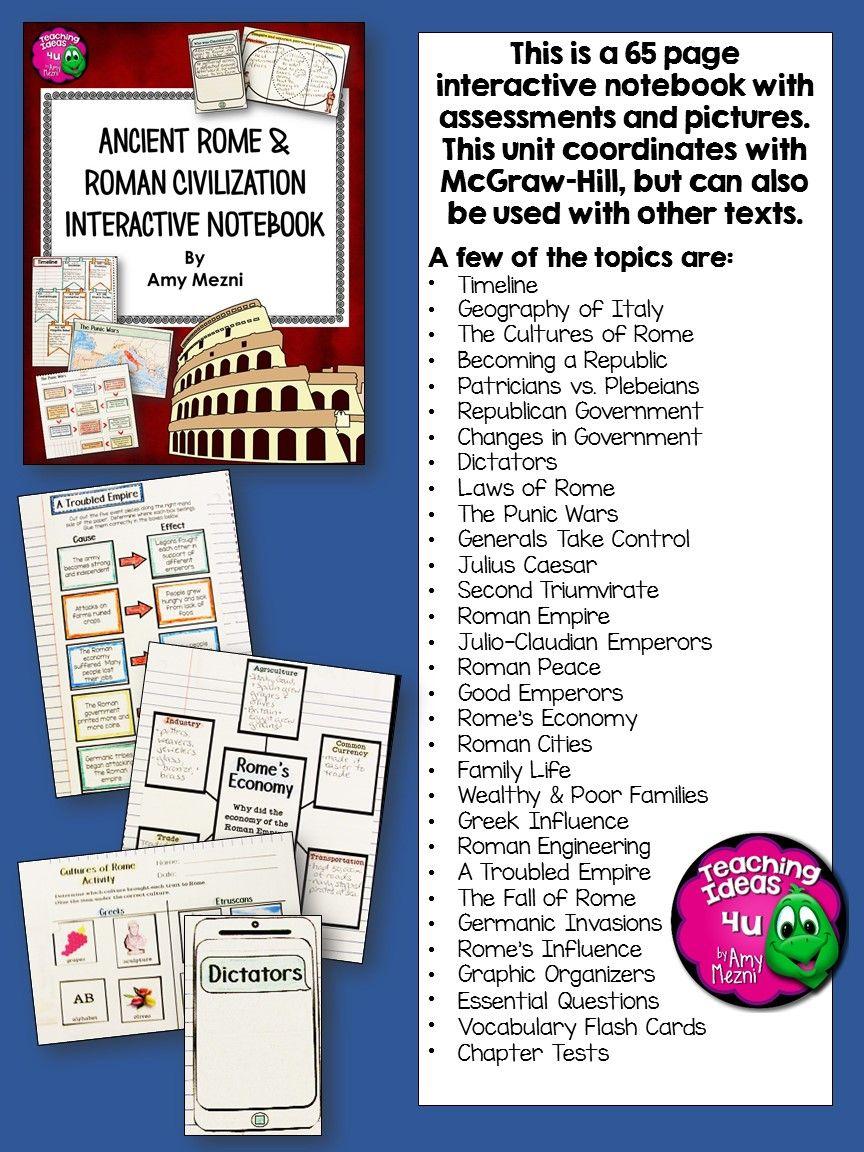 Roman Republic To Empire Civilization 6th Grade Interactive Notebook Includes Timelines Geography Of Italy Cultures Interactive Notebooks Interactive Rome