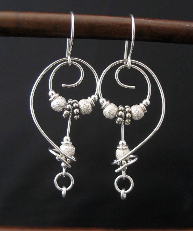 Artisan Free Form Earrings, Free Form Jewelry, Silver Wire Dangle ...