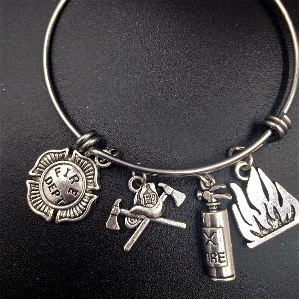 I Love My Firefighter Stainless Steel Adjustable Bangle Firefighter Stainless Charm Bracelet Gift For Her