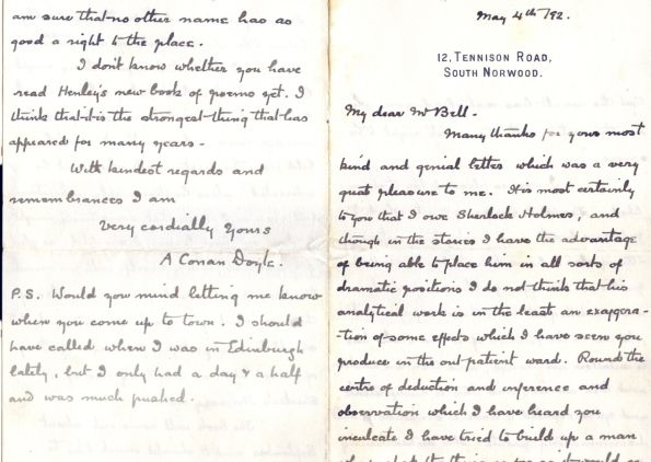 Letter From Conan Doyle To Dr Joseph Bell Dated Th May