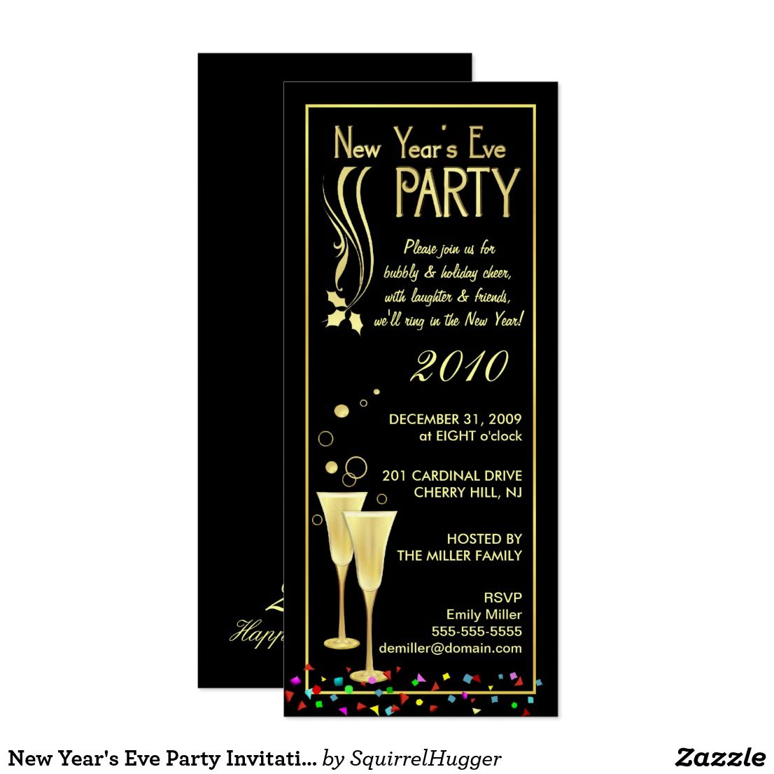 new year's eve party invitations  slim cards  new years
