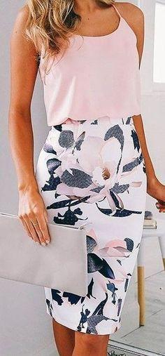 Rosa Top + Floral saia de Midi