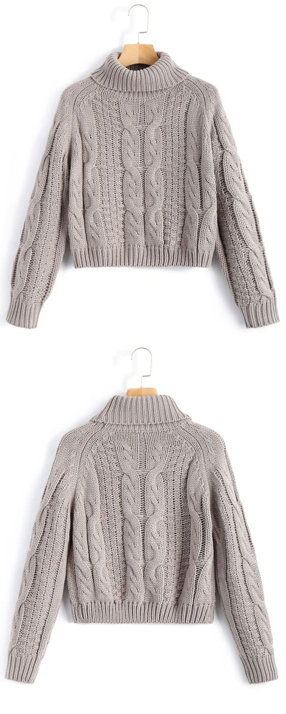 Turtleneck Cropped Cable Knit Sweater | Outfit winter, Fashion ...